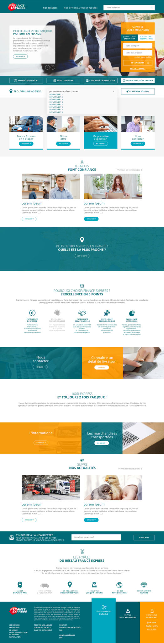 France express maquette home page responsive