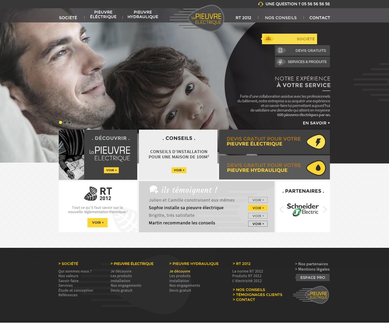 Création de site internet pour La pieuvre électrique - maquette home page
