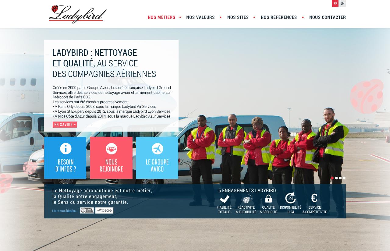 Création de site internet pour Ladybird - maquette home page