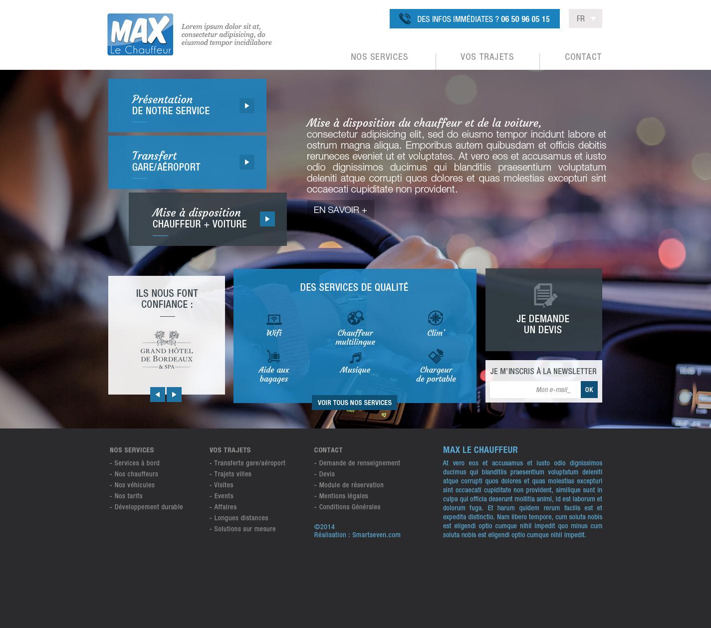 Création de site internet pour Max le chauffeur - Maquette home page