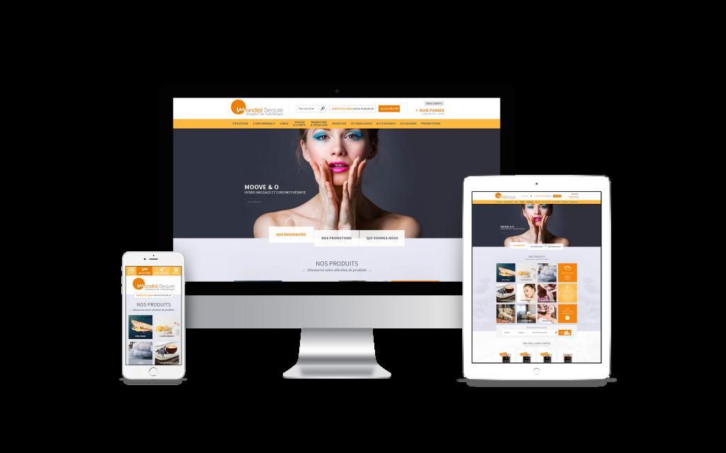 Création de site internet pour mondial beauté - Mockup Imac Ipad Iphone