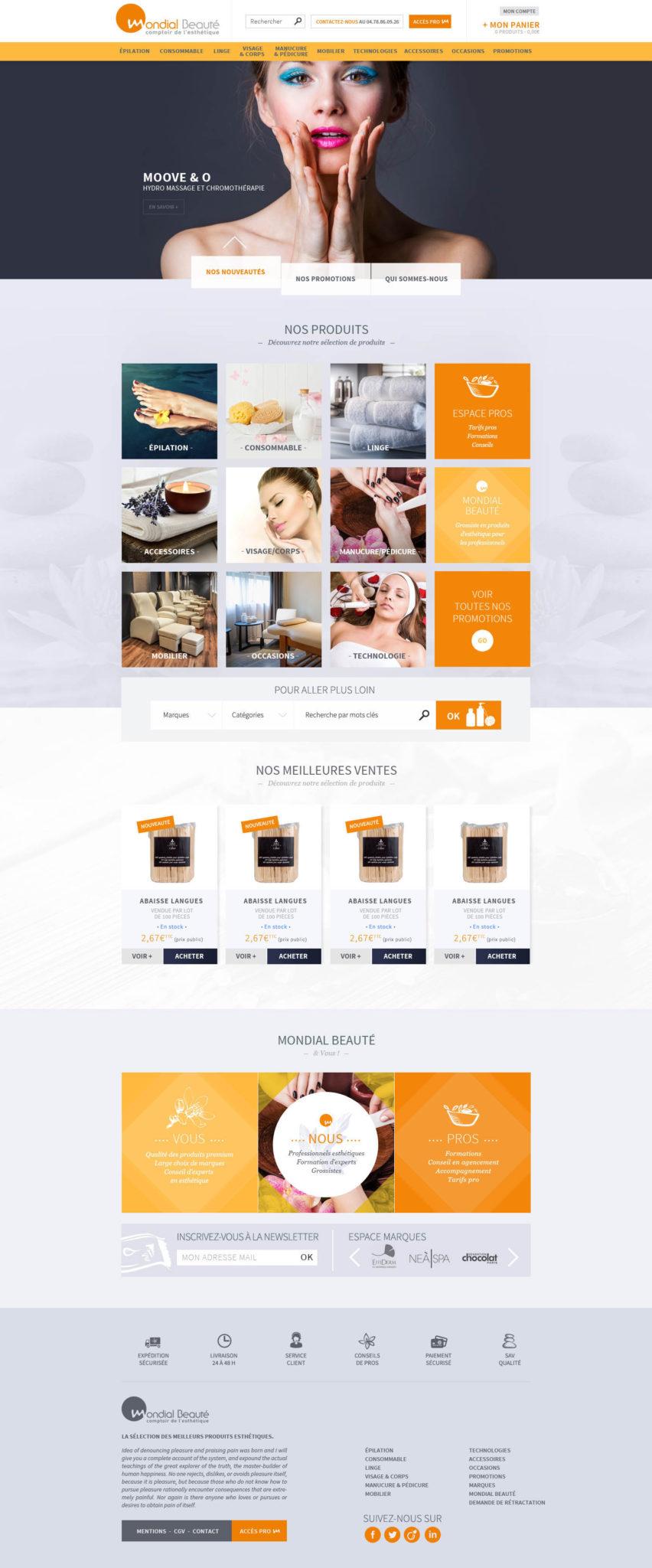 Création de site internet pour mondial beauté - maquette home page