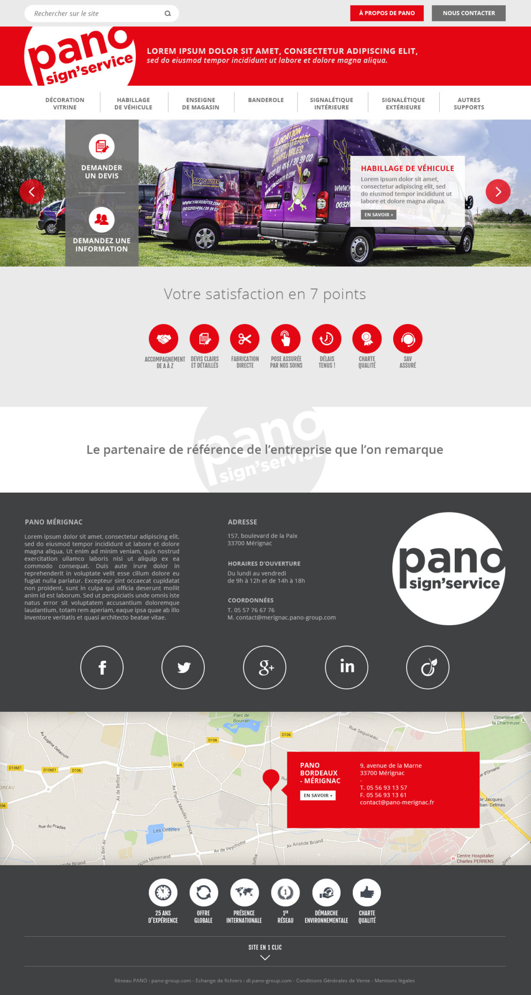 Pano maquette home page - création site internet responsive
